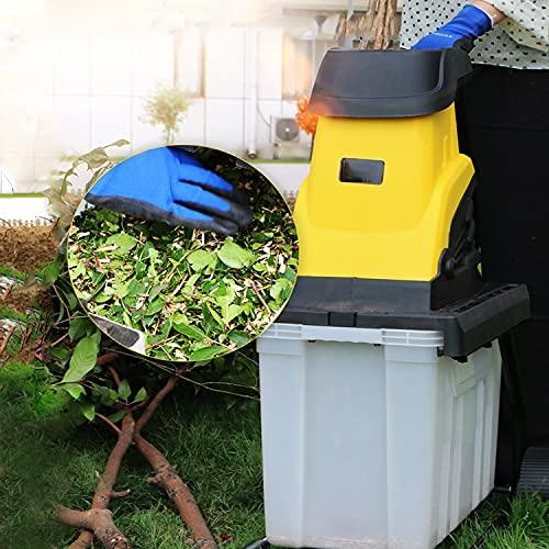 ZRXRY Trituradora trituradora de Madera eléctrica con Cable de alimentación de 30 m y Caja de Almacenamiento de 45 l, trituradoras de Ramas de jardín de 2400 W, Cuchillas de Doble Filo, Amarillo