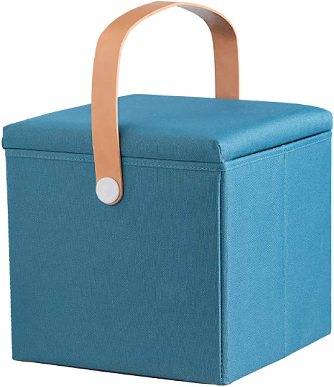Storage Stool Thickening Folding Storage Fabric Footrest Chair Door Change shoes Upholstered with Cover Highly Elastic Sponge Filling (27L),bluee+30  30  30cm