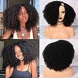 Afro Kinky Curly Wigs for Black Women ,MSGEM Kinky Curly Hair 2X4 U Shape Wig 16 inch Brazilian Virgin Human Hair Glueless Machine Made Wig