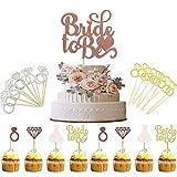 TANGGER 46 PCS Bride To Be Cake Topper,Futura Sposa Decorazione Torta Hen Party Accessories,Accessori Topper per Torta per Decorazioni per Feste di Addio al Celibato