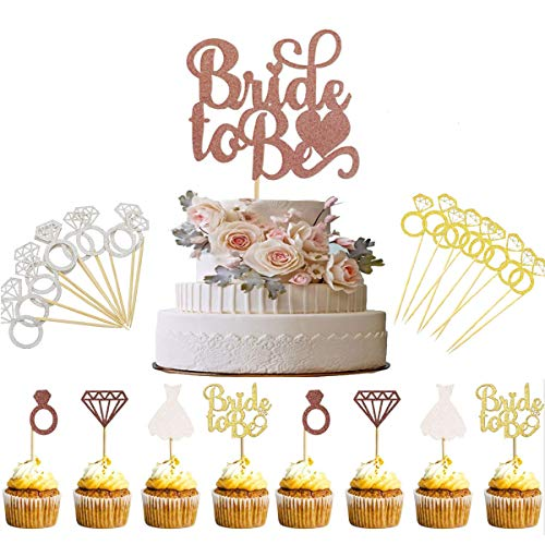 TANGGER 46 PCS Bachelor Party Deko Accessories Bride To Be Cupcake Topper,Tortenaufsatz Diamond Ring Brautkleid Cupcake Topper Geburtstag Kuchen Decor für Hochzeiten Bridal Dusche,Gold,Silber