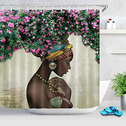 ECOTOB Afro African Black Girl Shower Curtain Decor, Afro Hair Girl with Flowers African American Women Shower Curtains 72X79 inch Polyester Fabric Bathroom Decorations Bath Curtains Hooks Included