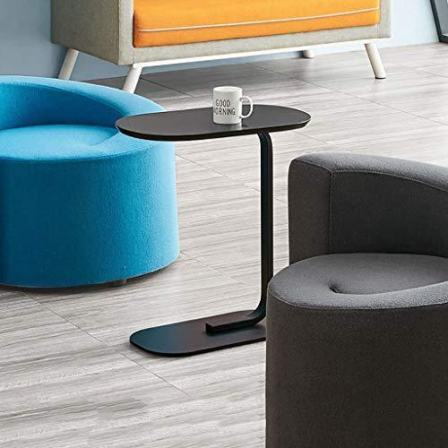 Decoración de muebles Mesa de centro pequeña Tablero de mesa de madera maciza nórdica Mesa auxiliar pequeña móvil Estructura de hierro grueso Material Living oom Sofá Mesa auxiliar Pintura en aeros