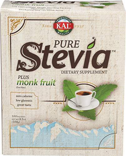 KAL® Sure Stevia™ Extract Powder Plus Monk Fruit (Luo Han)   Best-Tasting, Zero Calorie, Low Glycemic   100 Single-Serve Packets