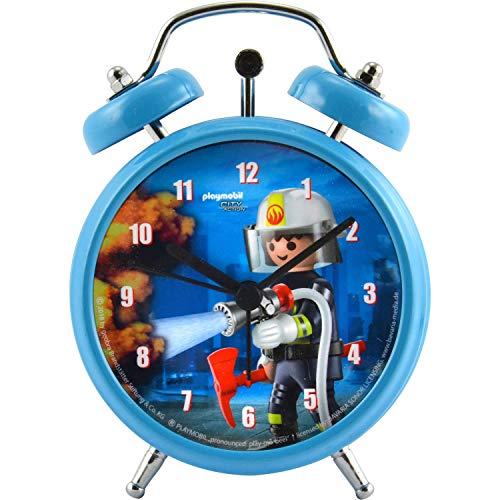 PLAYMOBIL City Action-Kinder Jungen Wecker Uhr Feuerwehr, Durchmesser: ca. 7,5 cm
