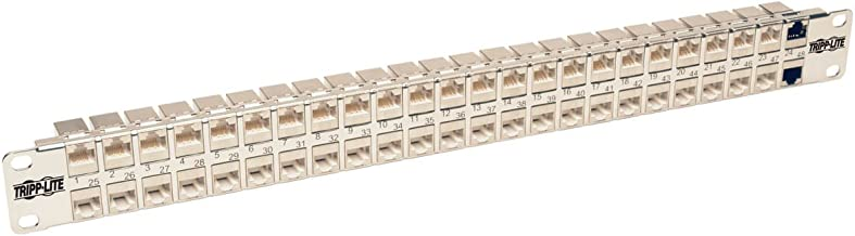 Tripp Lite 48-Port Cat6a Patch Panel STP Shielded RJ45 Ethernet 1U Rackmount TAA (N254-048-SH-6A)