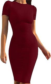 21d10a1f59 Mokoru Women s Casual Basic Pencil Dress Sexy Long Sleeve Bodycon Midi Club  Dress