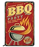 Swono BBQ Tin Signs,BBQ Party Beef Pork Chicken Cold Drink on Red Background Vintage Metal Tin Sign for Men Women,Wall Decor for Bars,Restaurants,Cafes Pubs,12x8 Inch