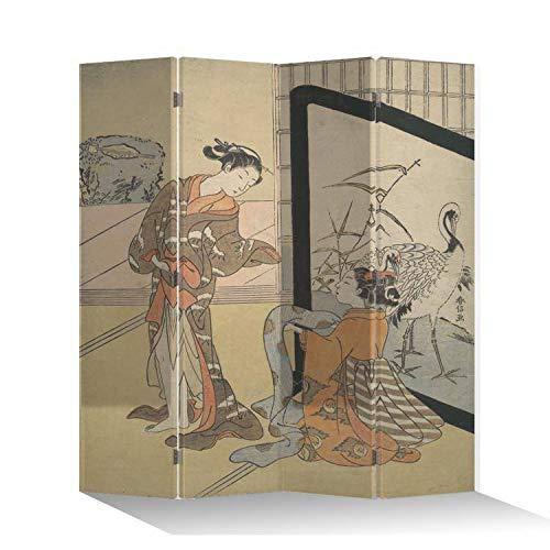 Fine Asianliving Paravent Raumteiler Trennwand Spanische Wand Raumtrenner Sichtschutz Japanisch Orientalisch Chinesisch L160xH180cm Bedruckte Canvas Leinwand Doppelseitig Asiatisch -203-207