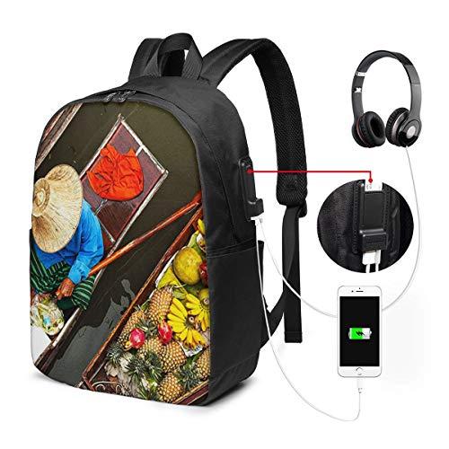 Laptop Rucksack Business Rucksack für 17 Zoll Laptop, Schwimmender Markt Thailand Schulrucksack Mit USB Port für Arbeit Wandern Reisen Camping,für Herren Damen