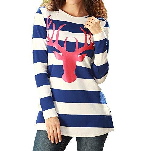 Fröhliche Weihnachten! SHOBDW Damen Winter Mode Elegant Weihnachten Thema Simplicity Hirschkopf Strifen Drucken Sweatshirt T Shirt Frauen Langarm Dünn Pullover Bluse Shirts Tops