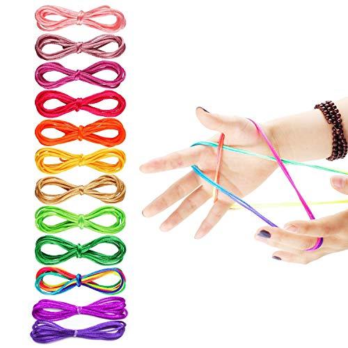 fun Ztringz Cuerda,Cordel de 12 dedos,juegos de cuerdas de colores, juegos de cuerdas para niños, juegos de cuerdas para artículos de fiesta, juego de habilidades de cuerdas de arco iris (12 colores)
