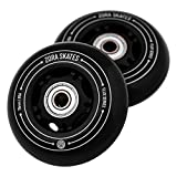 ZORA SKATES Flux 2 76mm RipStik Wheels 85A for Ripsurf Caster Board, RipStik Wave Board, or Crazy Cart Wheels Replacement, 2 Pack with Bearings