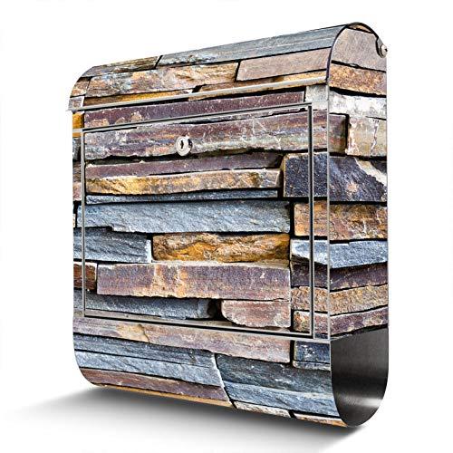 BANJADO Edelstahl Briefkasten mit Zeitungsfach | Design Motivbriefkasten | Briefkasten 38x43x12cm groß | Postkasten mit Montagematerial | 2 Schlüssel Motiv Naturstein