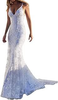 Colmkley Women Spaghetti Straps Backless Mermaid Lace Wedding Dress Bridal Gowns