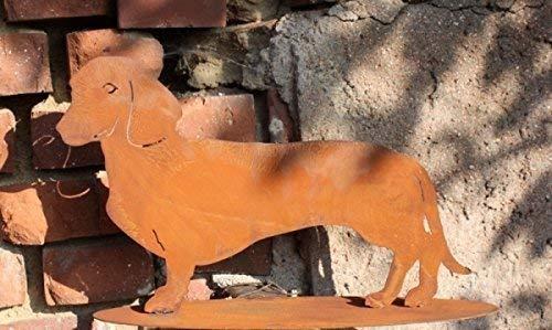 Edelrost Hund/Dackel Waldi, Tierfigur aus rostigen Metall größe 1