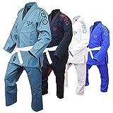 Jayefo Mens BJJ GI Brazilian JIU Jitsu Preshrunk Lightweight Pearl Weave Fabric IBJJF Legal - Free White Belt- 2 Years Warranty