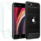 ivoler Funda para iPhone SE 2020 / iPhone SE 2 4.7 Pulgadas con 3 Unidades Cristal Templado, Fibra de Carbono Carcasa Protectora Antigolpes, Suave TPU Silicona Caso Anti-Choques Case Cover - Negro