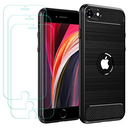 iVoler Cover per iPhone SE 2020 / iPhone SE 2 4.7 Pollici con 3 Pezzi Pellicola Vetro Temperato, Fibra di Carbonio Nero Custodia in Morbida Silicone TPU Anti-Graffio Antiurto Protettiva Case