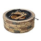H-BEI Kleine Feuerstelle, Außenfeuerstelle, Runde Feuerstelle Feuerschale mit Funkenschutzgitter...