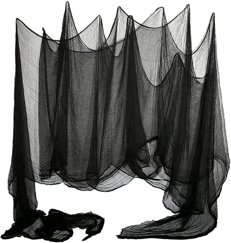 LessMo Gasa Negra de Halloween, Decoraciones de Halloween, 2x5m Pulgadas Tela Espeluznante Usado para Ventanas, Marcos De Ventanas, Aleros y Decoraciones De Puertas Negras