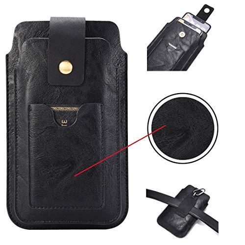 Funda de piel de doble capa para iPhone 11/XR/XS Max portátil de cuero de la correa de teléfono móvil funda universal (5,2 a 6,4 pulgadas) Samsung Note9/Samsung A9/A70