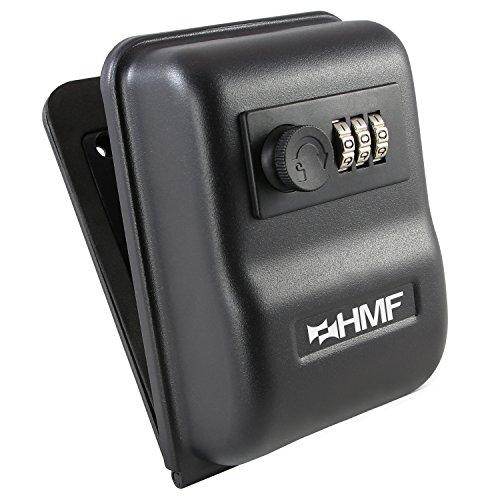 HMF 301-02 Schlüsseltresor mit Zahlencode | Wandmontage außen | 14,5 x 10 x 5,7 cm | Schwarz