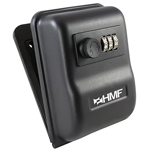 HMF 301–02cassaforte per chiavi con serratura a combinazione, montaggio a parete, 14,5x 10,0x 5,7cm, colore: nero