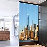 Glass Film 3D Window Sticker Landscape New York City Skyline USA Landmark Buildings Skyscrapers Mod Bathroom Office Meeting Room Living Room Window Membrane 35.4x78.7 in