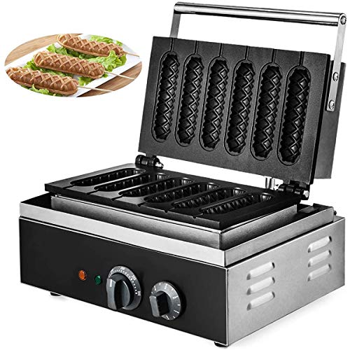 MXCYSJX 1500W Electric Lolly Waffle Maker 6PCS Corn Dog Maker Waffeln Antihaft Kommerzielle Waffel Hotdog Maker Maschine für Hot Dog Waffel Knusprig