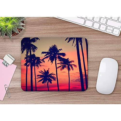 Moslion Coconut Palm Mouse Pad Tree Summer Sunset Nightfall Clouds Sky Fantastic Landscape Gaming Mouse Mat Non-Slip Rubber Base Thick Mousepad for Laptop Computer PC 9.5x7.9 Inch Photo #2