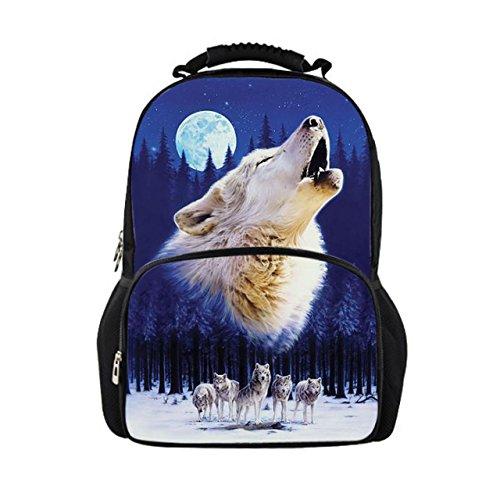 Nopersonality Moon Wolf Backpack Mens Women Adult 3D Animal Felt Fabric Bookbags