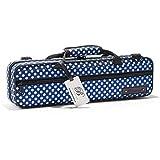 """Beaumont """"Blue Polka Dot"""" Querflötenkoffer - C-Fuß - Querflötentasche handgemacht als Querflöten Koffer Rucksack Etui Hülle..."""