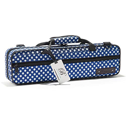 """Beaumont """"Blue Polka Dot"""" Querflötenkoffer - C-Fuß - Querflötentasche handgemacht als Querflöten Koffer Rucksack Etui Hülle Instrumententasche mit Schulterriemen Lightcase als Accessoire für Querflöte"""