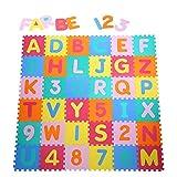 Yorbay Puzzle Tapis Mousse bébé Souple Alphabets et Chiffres 32x32 cm