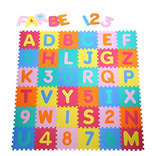 Yorbay Alfombra puzzle para Niños bebe infantil, esteras de 32x32 cm,