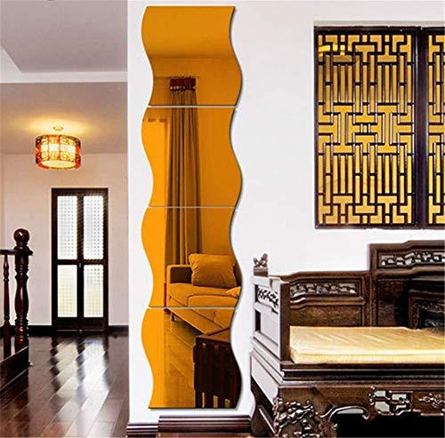Pegatinas de pared de espejo ondulado 3D, 6 piezas de arte de espejo DIY decorativo para el hogar, hoja de pared de espejo de acrílico, azulejos de espejo de plástico para el hogar, sala de estar, do