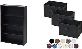 [山善] 本棚 コミック収納ラック 4段 幅60×奥行17×高さ89cm 耐荷重50kg ダークブラウン CMCR-9060(DBR) & どこでも収納ボックス(3個セット) ブラック YTCF3P-(BK)【セット買い】