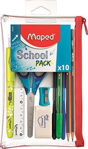 Maped - Trousse Transparente avec 10 pièces School Pack - La trousse Complète pour les Exams - 3 Stylos, 2 Crayons à Papier, 1 Surligneur, Ciseaux, Gomme, Taille-crayons, Règle 15 cm 899705