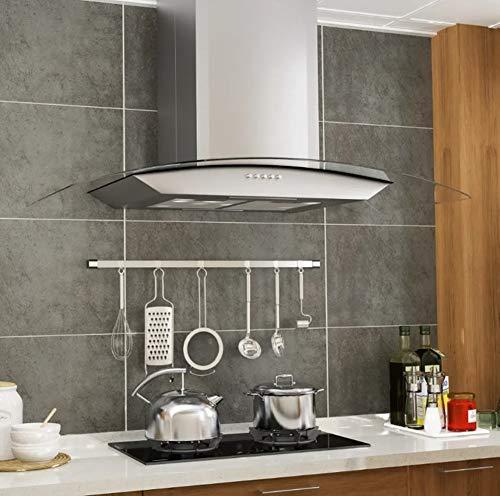 Pissente campana extractora de cocina de 90 cm, campana extractora de pared de acero inoxidable con succión 756 m³ / h, 180 W, 90 x 45 x (46-73) cm