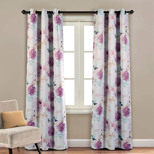 MYSKY HOME Printed Floral Curtains for Living Room, Room Darkening Grommet Curtain Panels 42 inch Wide by 84 inch Length (Purple, 1 Pair)