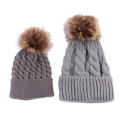 Gorro tejido al crochet de Zhouba para bebé, niñas, para Invierno. Cálido y suave gris gris Talla:talla única
