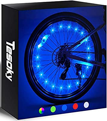 Tesoky Bicycle Tire Lights (2 Wheels), Suitable for Rugged Mountains, Roads, Tandem, Beaches, Commuting, Fun Sports Toys for Kids, Best Wheel Lights for Bicycles for Adults and Teenagers