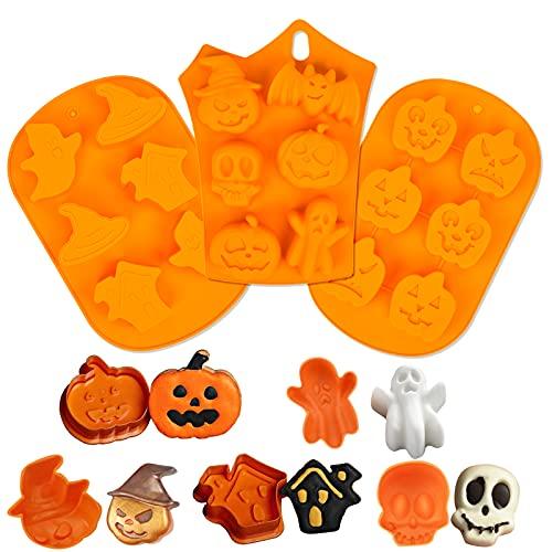 3 pcs Stampo per biscotti per torta di Halloween, Stampo in silicone per zucca strega fantasma Stampo per caramelle Vassoio per il ghiaccio per strumenti di cottura fai da te, Bomboniere per Halloween