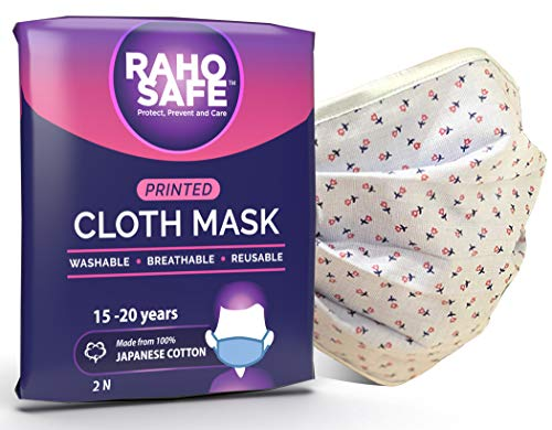 Raho Safe Breathable, Printed Cloth Masks | Made with Japanese Cotton, Pack of 2, Large (15-20+ years)