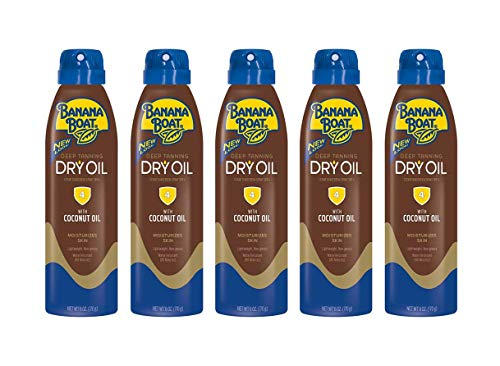 PACK OF 5 - Banana Boat Clear UltraMist Deep Tanning Dry Oil Continuous Spray Sunscreen, SPF 4, 6 oz