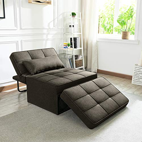 Vonanda Sofa Bed, Convertible Chair 4 in 1 Multi-Function Folding Ottoman Modern Breathable Linen Guest Bed with Adjustable Sleeper for Small Room Apartment, Chocolate Brown