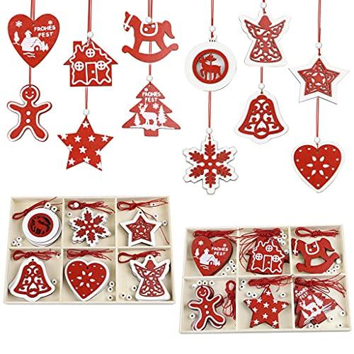 YUTRD ZCJUX Andamento dell'albero di Natale del Ciondolo di Legno del Pendente di Natale di Natale 2 della Scatola (Color : A, Size : As The Picture Shows)