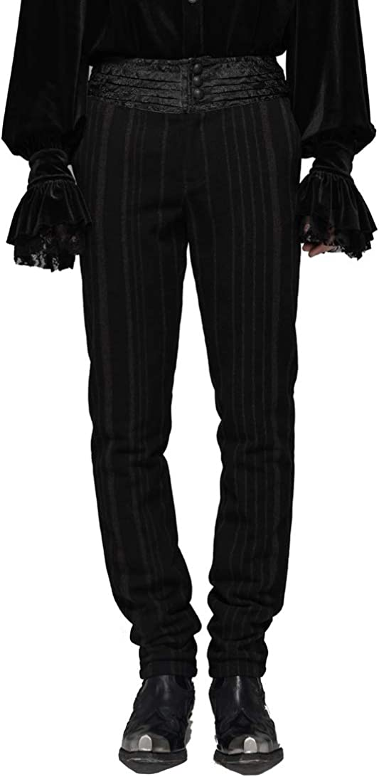 Punk Rave Black Steampunk Retro Gothic Gentlemen's Stripe Pants Casual Suit Trousers for Men