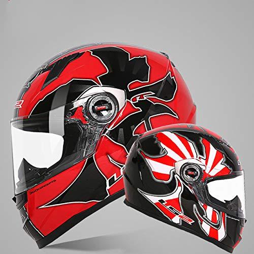 Original Motorradhelm Vollgesichts-Rennhelm Casque Casco Moto Leicht und leicht zu tragen, bequemes herausnehmbares Futter - H, L.